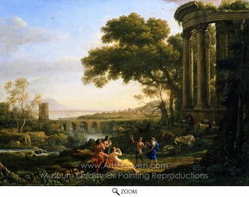 Claude Lorraine, Landscape with Nymph and Satyr Dancing oil painting reproduction
