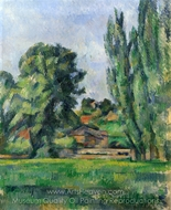 Landscape with Poplars painting reproduction, Paul C�zanne