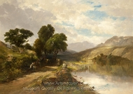 Landscape with Road Along a Lake� painting reproduction, James McDougal Hart