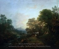 Landscape with Rustic Lovers, Two Cows, and a Man on a Distant Bridge painting reproduction, Thomas Gainsborough