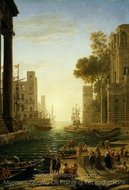 Landscape with the Embarkment of Saint Paula Romana in Ostia painting reproduction, Claude Lorraine