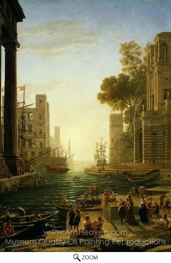 Claude Lorraine, Landscape with the Embarkment of Saint Paula Romana in Ostia oil painting reproduction
