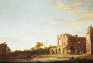 Landscape with the Ruins of Rijnsburg Abbey, Near Leiden painting reproduction, Aelbert Cuyp