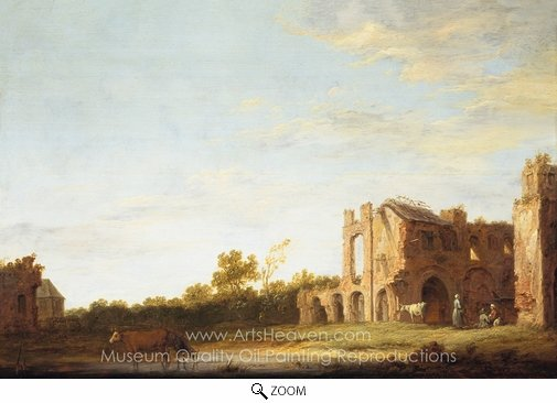 Aelbert Cuyp, Landscape with the Ruins of Rijnsburg Abbey, Near Leiden oil painting reproduction
