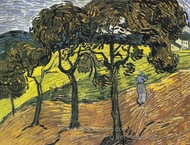 Landscape with Trees and Figures painting reproduction, Vincent Van Gogh