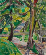 Landscape with Trees (Marlboro Landscape) painting reproduction, Alfred Henry Maurer