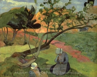 Landscape with Two Breton Girls painting reproduction, Paul Gauguin