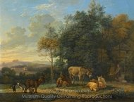 Landscape with Two Donkeys, Goats and Pigs painting reproduction, Karel Dujardin