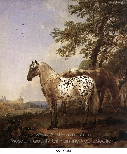 Nicolaes Berchem, Landscape with Two Horses oil painting reproduction