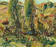 Landscape with Two Trees painting reproduction, Alfred Henry Maurer