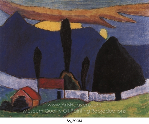 Gabriele Munter, Landscape with White Wall oil painting reproduction