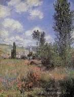 Lane in the Poppy Field, Ile Saint-Martin painting reproduction, Claude Monet