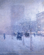 Late Afternoon, New York, Winter painting reproduction, Childe Hassam