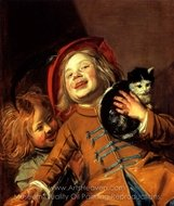 Laughing Children with Cat painting reproduction, Judith Leyster