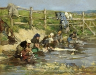Laundresses by a Stream painting reproduction, Eugene-Louis Boudin