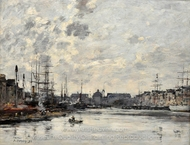 Le Bassin du Commerce painting reproduction, Eugene-Louis Boudin
