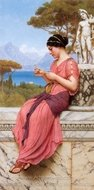 Le Billet Doux painting reproduction, John William Godward