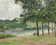 Le Cours-la-Reine A Rouen, temps gris painting reproduction, Camille Pissarro