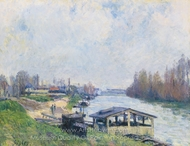 Le Lavior de Billancourt painting reproduction, Alfred Sisley