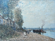 Le Remorqueur sur le Long, Saint-Mammes painting reproduction, Alfred Sisley
