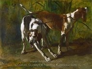 Leashed Hounds painting reproduction, Constant Troyon