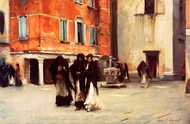 Leaving Church, Campo San Canciano, Venice painting reproduction, John Singer Sargent