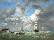 Leaving the Port of Le Havre painting reproduction, Eugene-Louis Boudin