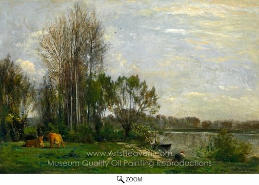 Charles Daubigny, Les bord de l'Oise oil painting reproduction