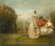 Les deux Cousines painting reproduction, Jean Antoine Watteau