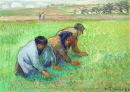 Les Sarcleurs painting reproduction, Camille Pissarro