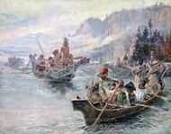 Lewis and Clark Expedition painting reproduction, Charles Marion Russell