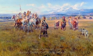 "Lewis and Clark Reach Shoshone Camp Led by Sacajawea the ""Bird Woman"" painting reproduction, Charles Marion Russell"