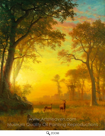Albert Bierstadt, Light in the Forest oil painting reproduction