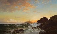 Lighthouse at Sunset painting reproduction, Francis Augustus Silva