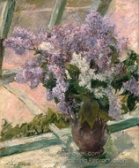 Lilacs in a Window painting reproduction, Mary Cassatt