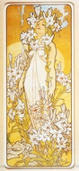 Lily painting reproduction, Alfonse Mucha
