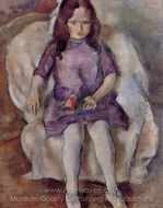 Little Girl with a Bouquet painting reproduction, Jules Pascin
