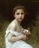 Little Girl with a Bouquet (Petite fille au bouquet) painting reproduction, William A. Bouguereau