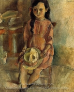 Little Girl with a Hat painting reproduction, Jules Pascin