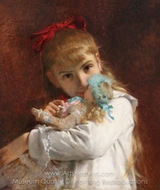 Little Girl with Doll painting reproduction, Pierre-Auguste Cot