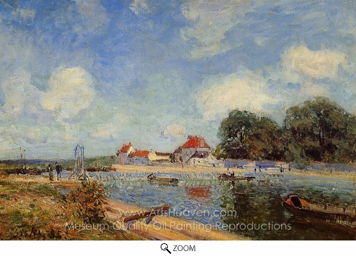 Alfred Sisley, Loing Dam at Saint-Mammes oil painting reproduction