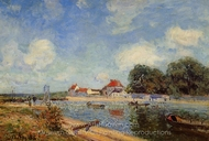 Loing Dam at Saint-Mammes painting reproduction, Alfred Sisley