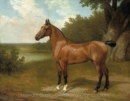 Lord Bingley's Hunter in a Wooded River Landscape painting reproduction, Jacques Laurent Agasse