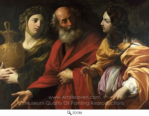 Guido Reni, Lot and His Daughters Leaving Sodom oil painting reproduction
