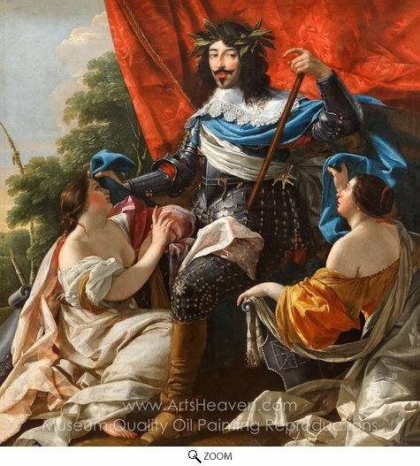 Simon Vouet, Louis XIII Between Two Female Figures oil painting reproduction