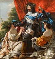Louis XIII Between Two Female Figures painting reproduction, Simon Vouet