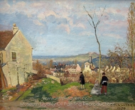 Louveciennes with Mont Valerien in the Background painting reproduction, Camille Pissarro