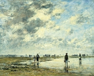 Low Tide, Berck painting reproduction, Eugene-Louis Boudin
