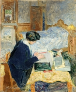 Lucy Hessel Reading painting reproduction, Edouard Vuillard
