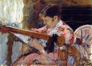 Lydia Seated at an Embroidery Frame painting reproduction, Mary Cassatt